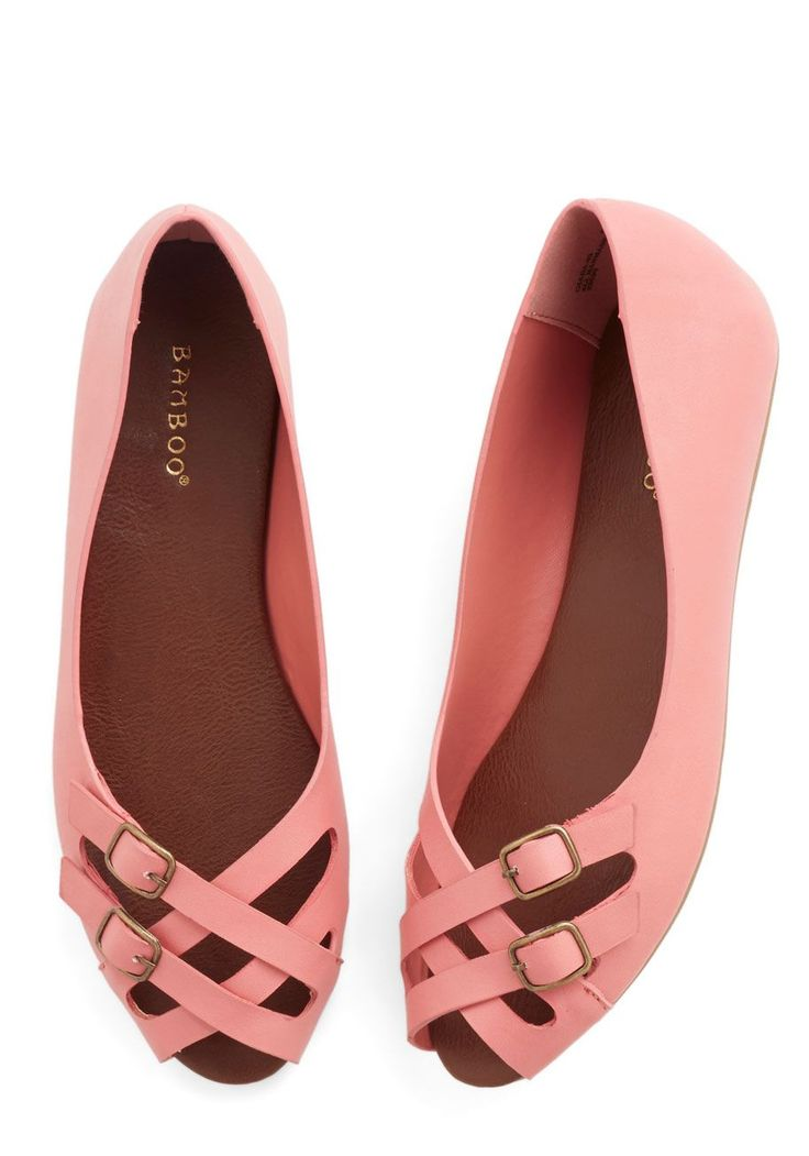 Prancing in the Moonlight Flat in Pink. Every stride you take in these peep-toe flats is filled with the grace of an airy dance step! #pink #modcloth