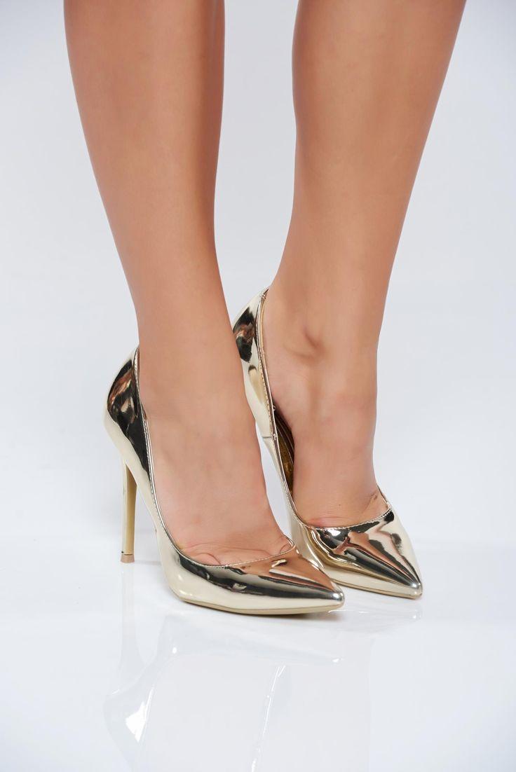 Comanda online, Pantofi eleganti cu toc inalt auriu cu aspect metalic. Articole masurate, calitate garantata!