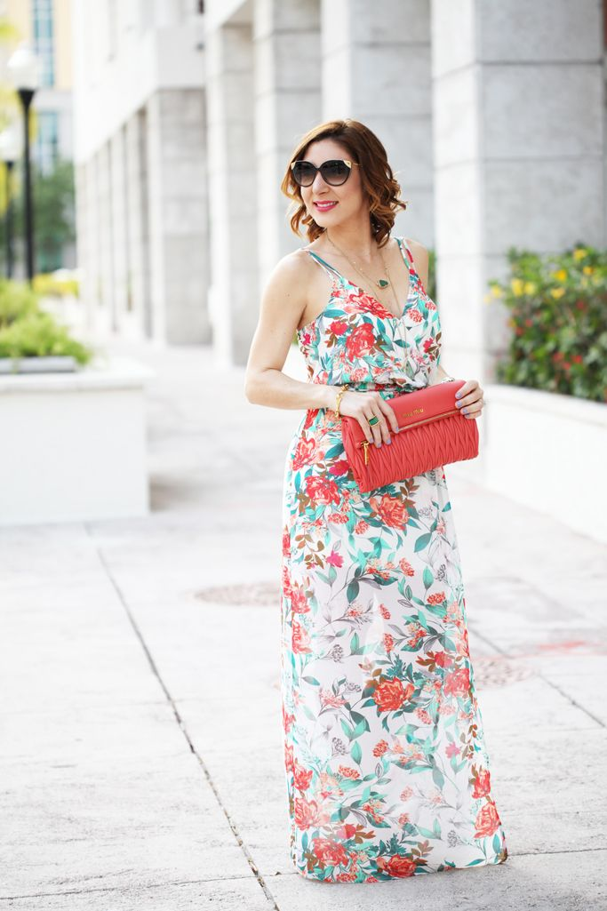 Blame it on Mei Miami Fashion Blogger 2016 Spring Outfit Casual Look Maxi Dress Florals Coral Clutch Louis Vuitton Cateye Sunglasses Soft Waves Short Hair Miu Miu Clutch How to Wear a Maxi Dress