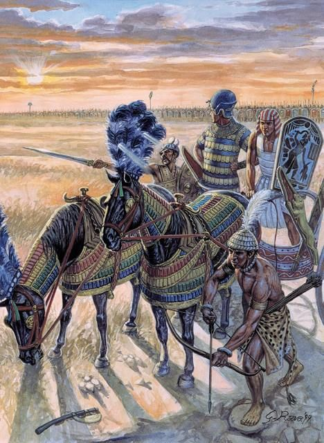 Ramses II before the battle of Kadesh. The driver is called Menna and one horse victory-in-thebes