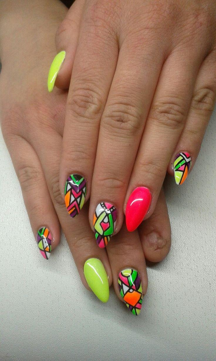 geometric neon  nails  design  https://www.facebook.com/nailartdesignsalice/
