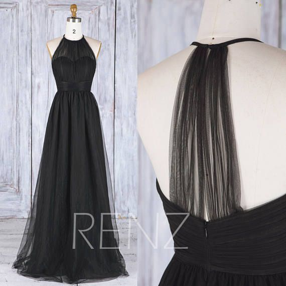 Bridesmaid Dress Black Tulle Dress Wedding Dress Illusion Sweetheart Sleeveless Maxi Dress Halter Evening Dress A-Line Party Dress (HS488A)