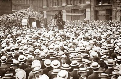 This picture was taken in 1914 in Union Square in New York City. Pictured is a crowd listening to an anarchist speaker, Alexander Berkman.