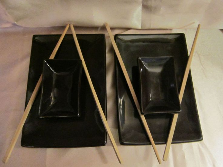GLAZED STONEWARE SUSHI SERVING SET for 2 - Plates, Dipping Bowls and Chopsticks #Unbranded $21.99