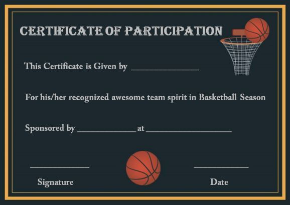 Youth basketball participation certificate
