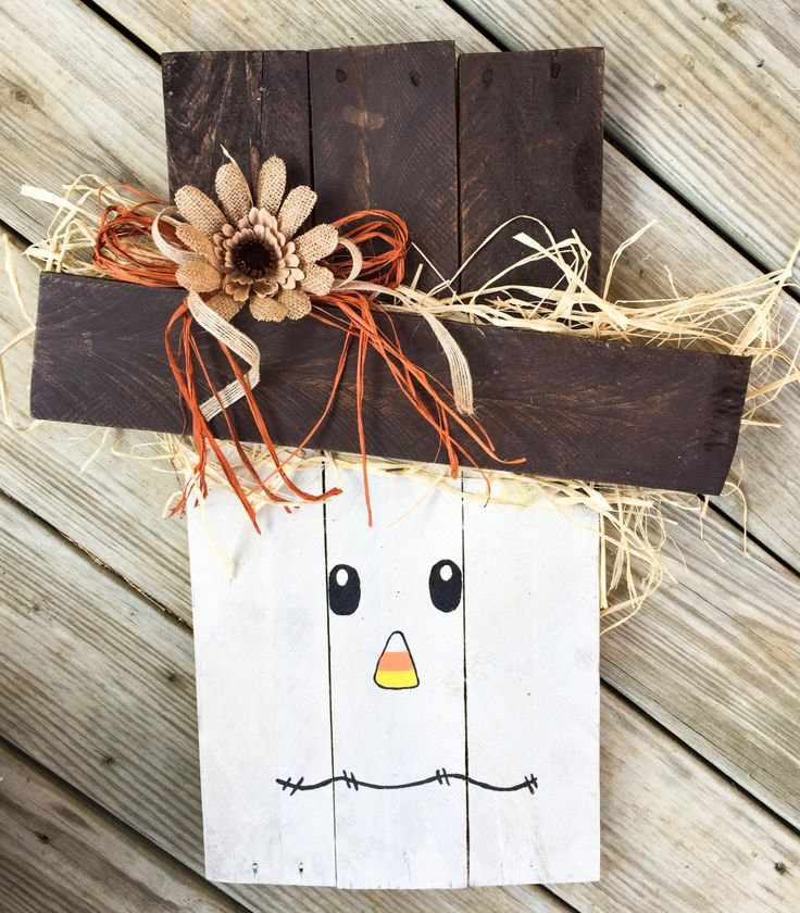 Wood Scarecrow- Scarecrow- Brown/Cream Face by CowtownChicDecor on Etsy