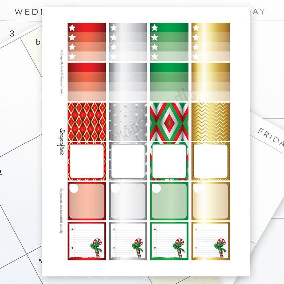 Christmas Monthly Layout Printable Planner Stickers for ...