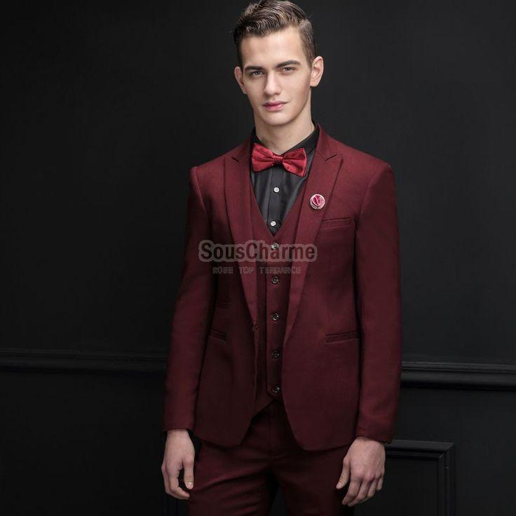 costume mariage smoking homme bordeaux haute couture pas cher 3 pièces veste + gilet + pantalons