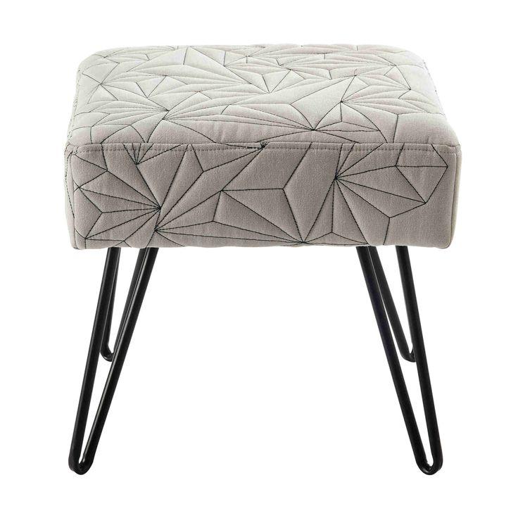 DARRYL metal and grey cotton stool