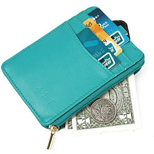 Artmi Womens Wallet RFID Blocking Secure Card Holder Compact Card Case with ID window Strong Keyring and Zipper, Green