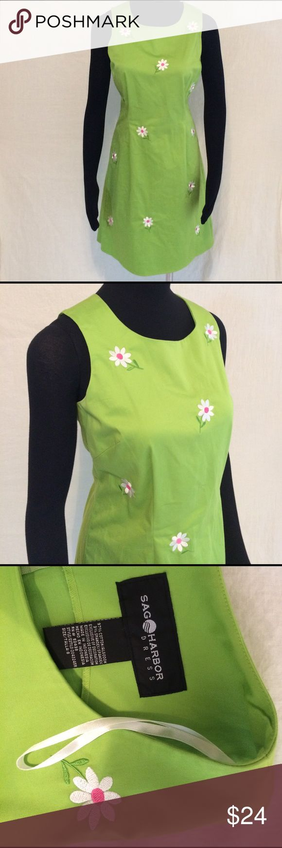 Sag Harbor Daisy Embroidered Summer Dress Size 8 Cute Sag Harbor Green summer dress with adorable embroidery daisies. Size 8. Sag Harbor Dresses Midi