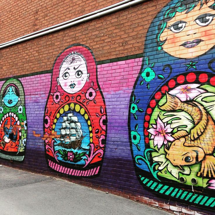 Colorful wall #murals #russian dolls #matryoshka