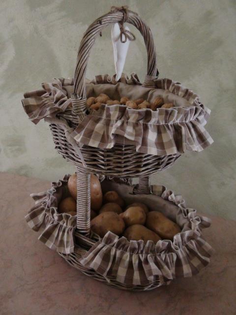 Cestino porta noci, patate in stile Country. Con decorazione a cuore.