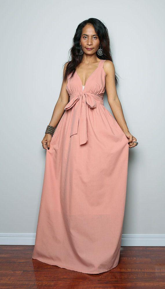 Bridesmaids Dress  Gorgeous Elegant Peach Maxi Dress  by Nuichan, $59.00