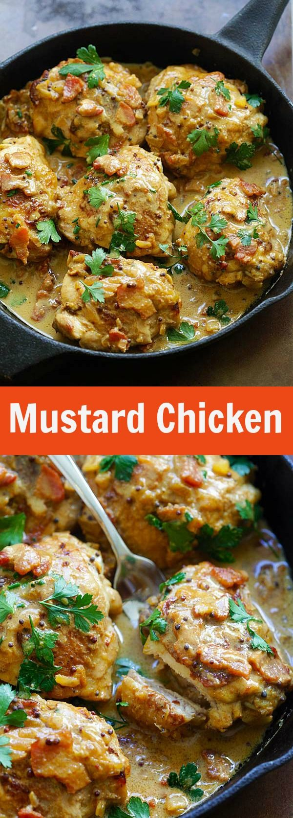 Mustard Chicken - the best mustard chicken recipe by David Lebovitz. Rich and crazy delicious mustard sauce with bacon and chicken thighs | rasamalaysia.com