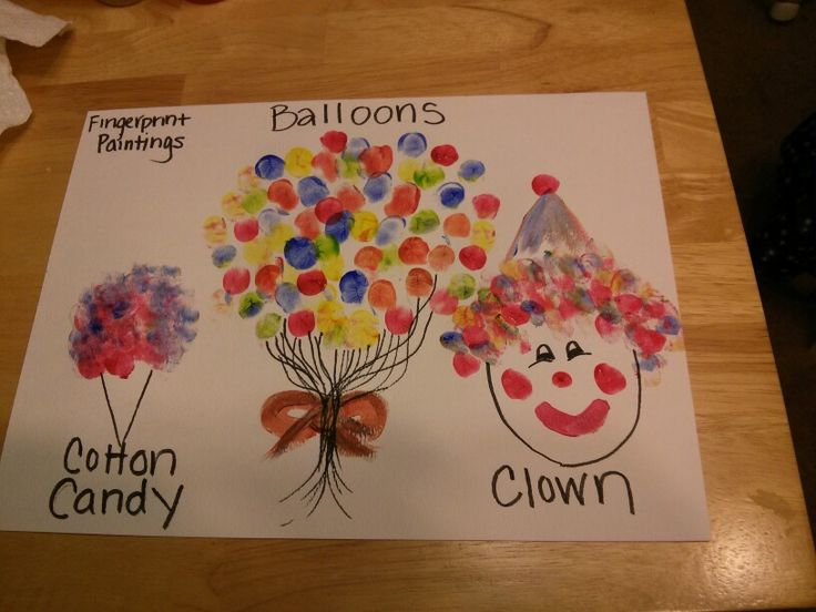 Fingerprint painting circus theme preschool.....ideas. I really like the balloon one but I would want mute definition with the lines and where the balloons go.