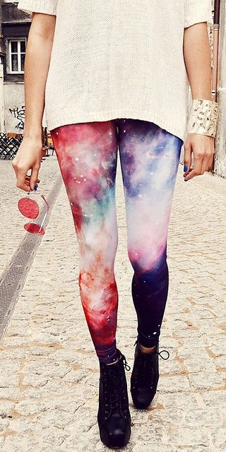ROMWE Galaxy Print Colorful Leggings - ON SALE 49% OFF! US$13.50 //// http://LuckyMelli.com