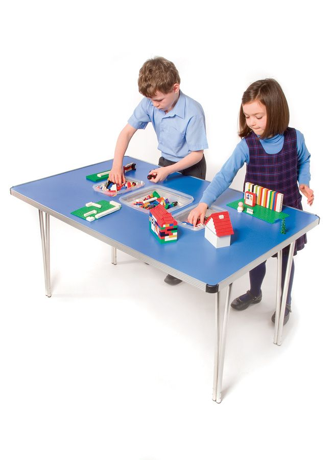 Folding Tables with Storage These Contour Folding Tables are supplied with holes cut out in the table top which fit the supplied plastic tubs with lids. Ideal for storing small play items such as Lego, crayons, pencils, plasticine, model cars, Knex etc.