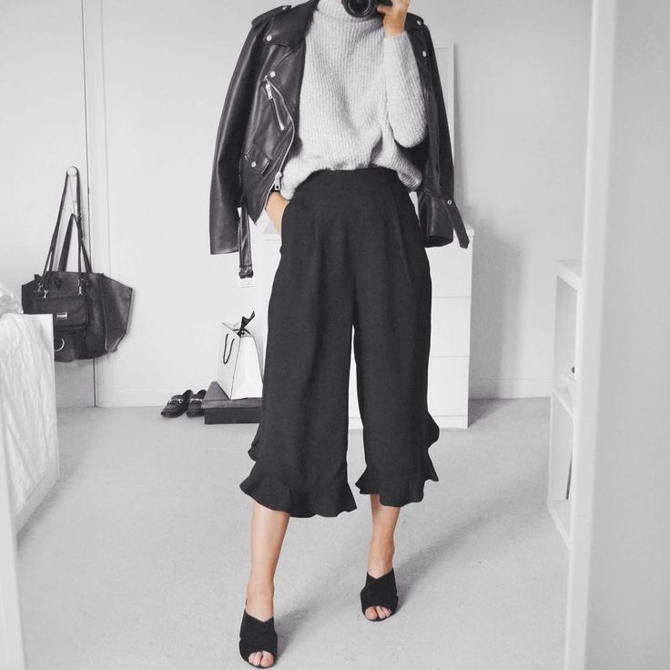 Neon Rose frill hem culottes, mules & faux leather jacket