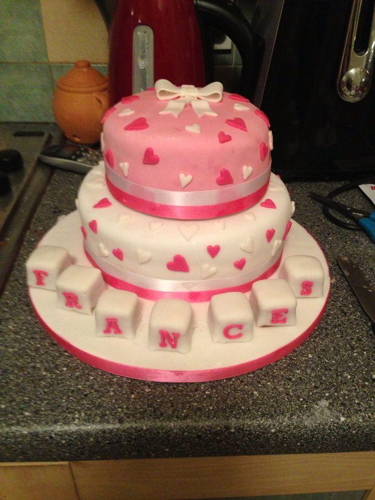 Baptism cake - top tier lemon - bottom tier chocolate