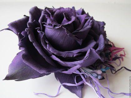 Заколки ручной работы. Заказать Индиго. Роза-зажим.. Украшения из фоамирана. Ярмарка Мастеров. Зажим с розой, украшение для волос