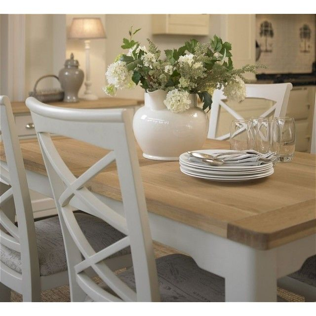 Cottage Oak And Painted Large Extending Dining Table Oak