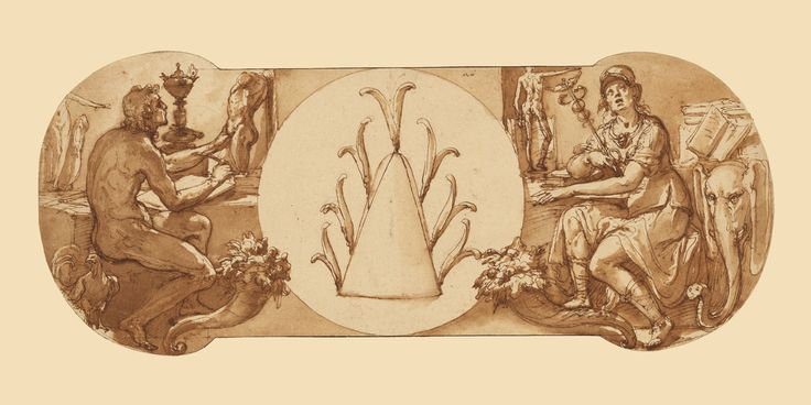 Federico Zuccaro (Federico Zuccari), c.1540/1541-1609, Italian, Allegories of Study and Intelligence Flanking the Zuccaro Emblem, c.1595.  Pen and brown ink, brush with brown wash, over black chalk and touches of red chalk, 17.6 x 42.5 cm.