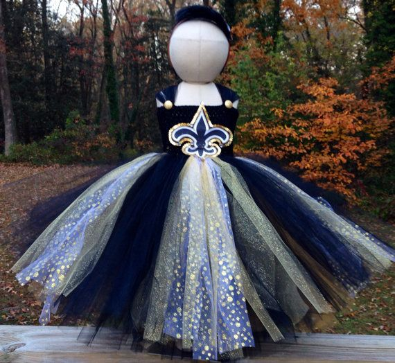 New Orleans Saints Tutu-Dress with Matching Headband for sizes 2 to 6 years of age on Etsy, $60.00
