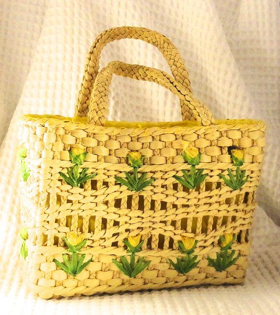 Adorable Spring Woven Basket Straw Purse with Yellow Tulips