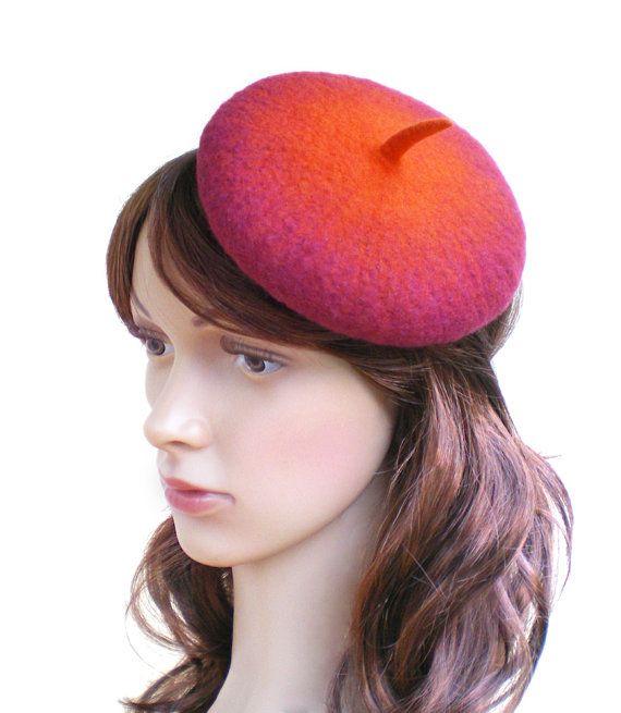 Retro Beret Hatinator, Vintage Style Tea Party Hat, Red Orange Mini Beret Fascinator, Womens Felt Cocktail Hat