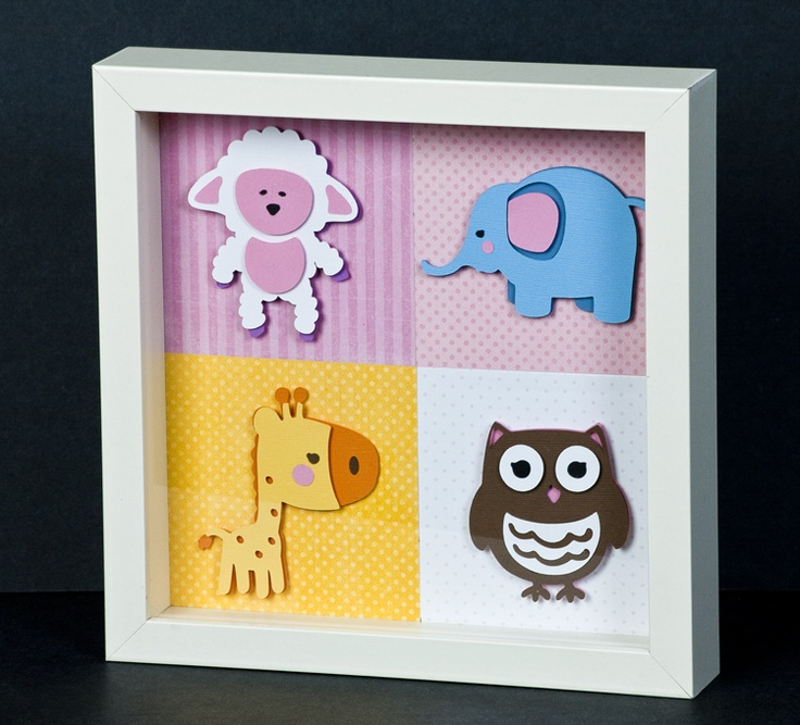 Cricut Shadow Box-- or whatever the theme of the child's room is.