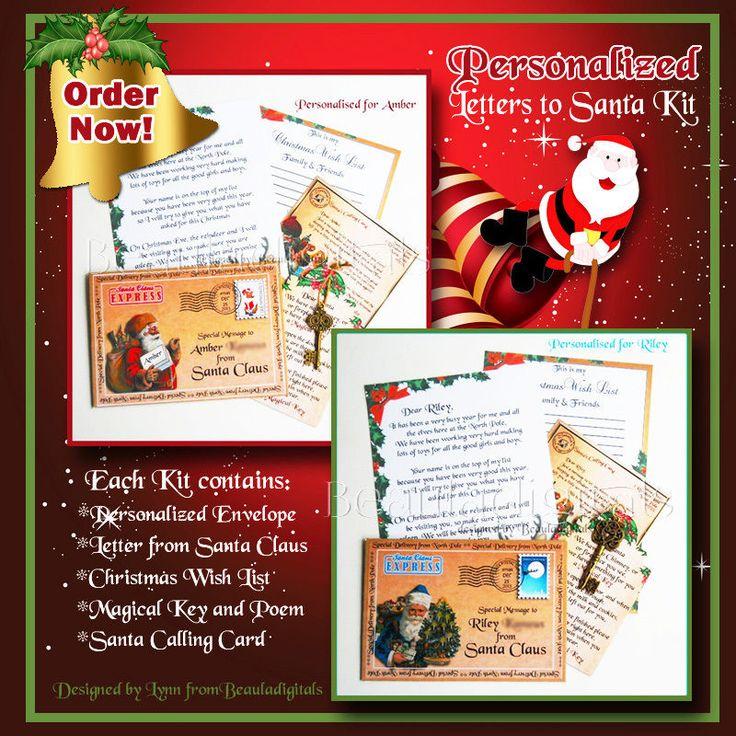 Personalized Letter from Santa Kit - Wish List/Calling card & Magic Santa Key