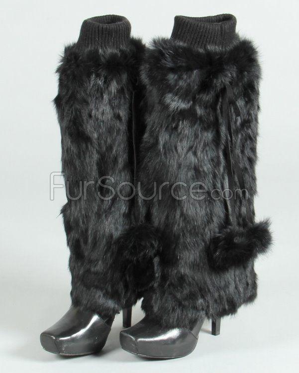 Fur Leg Warmers - Black Rabbit Fur