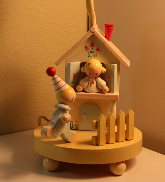 IRMI Nursery Plastics Baby Child's Lamp w/Nightlight Scene Little Boy with Girl in Window and Picket Fence