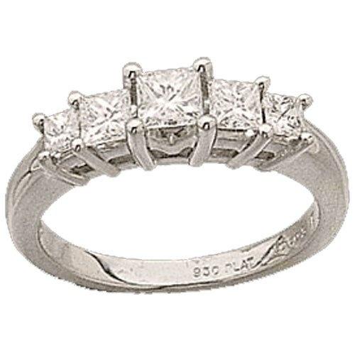 Platinum Princess Cut Diamonds Anniversary Ring