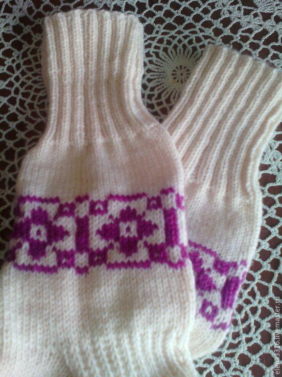 """Купить Носочки """" Домашние"""" - белый, орнамент, носочки, носочки вязаные, теплые носочки"""