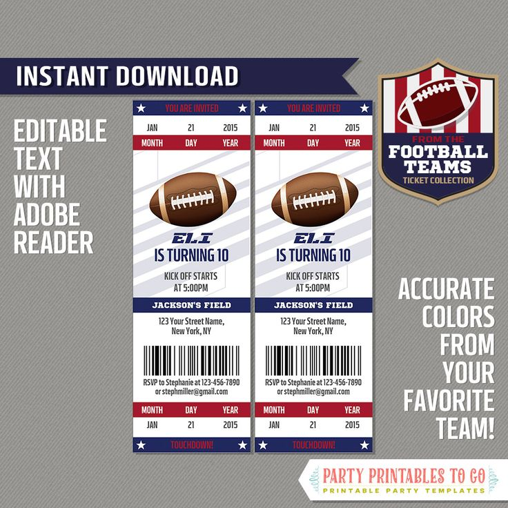 21 best NFL Teams Ticket Invitations \ Ideas images on Pinterest - printable ticket invitations