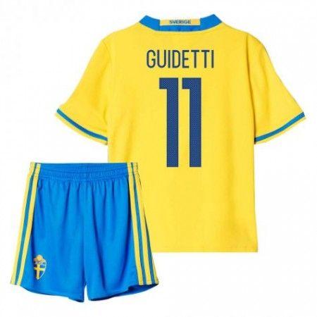 Sverige Trøje Børn 2016 #Guidetti 11 Hjemmebanesæt Kort ærmer.199,62KR.shirtshopservice@gmail.com