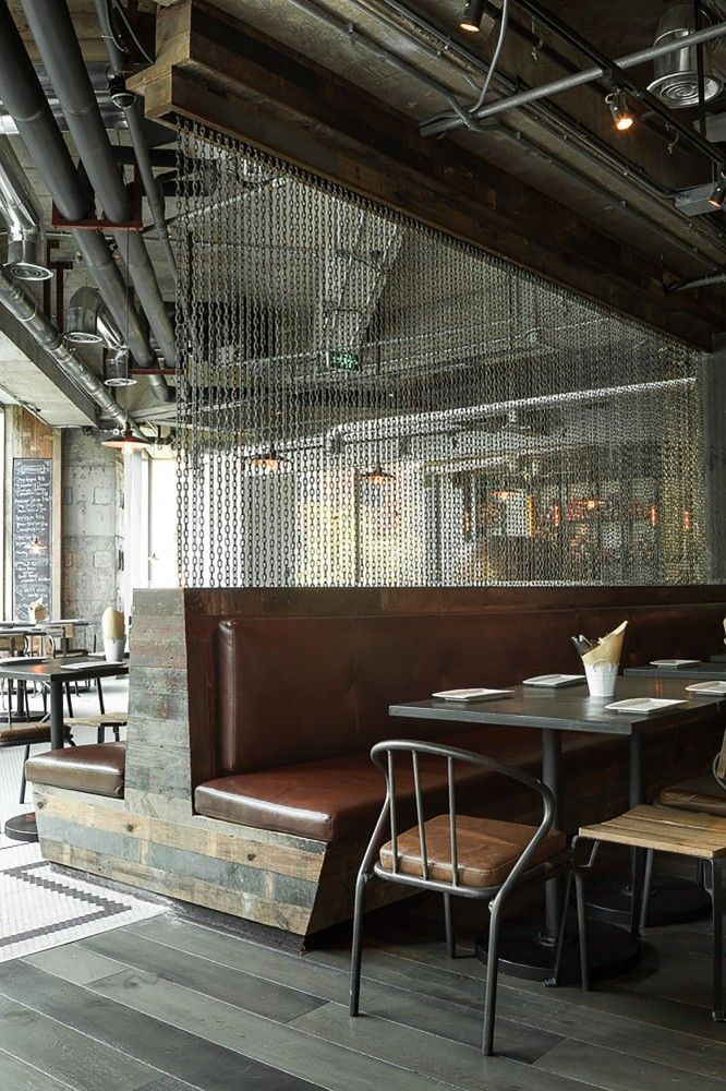 Liquid Laundry / hcreates, double sided banquet material mix of wood/leather, permeable privacy screen