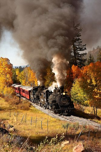 Old Train Leaving Chama New Mexico - Photo by Max Holman. The Cumbres & Toltec narrow gauge steam engines go through the San Juan Mountains between CO and NM. Wonderful ride in authentic rail cars...beautiful scenery, including mountain passes, the Golden or Quaking Aspen, etc.