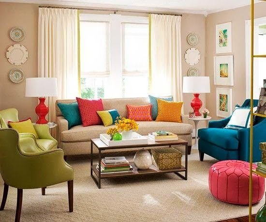 Livingroom Decor Color Combination Neutrals Red Orange Blue