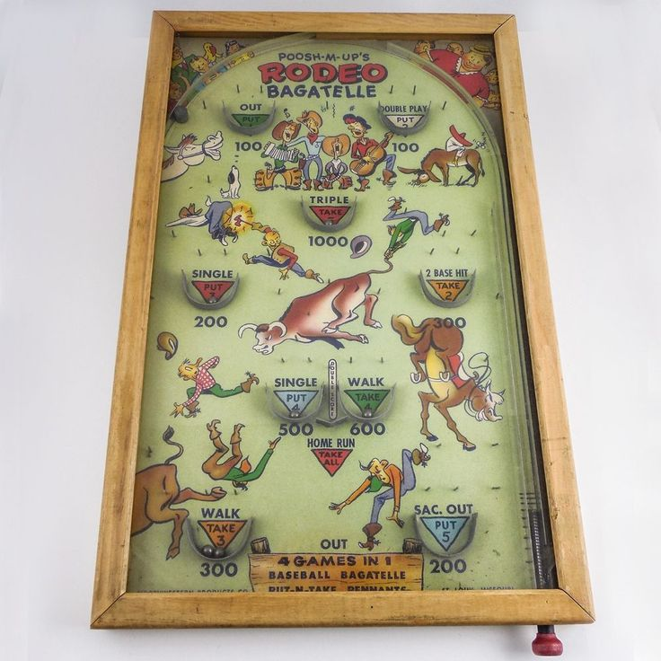 "Vintage Pull PinBall Game ""POOSH-M-UPs RODEO BAGATELLE"" Baseball + — WORKS FINE #NorthwesternProductsCo"