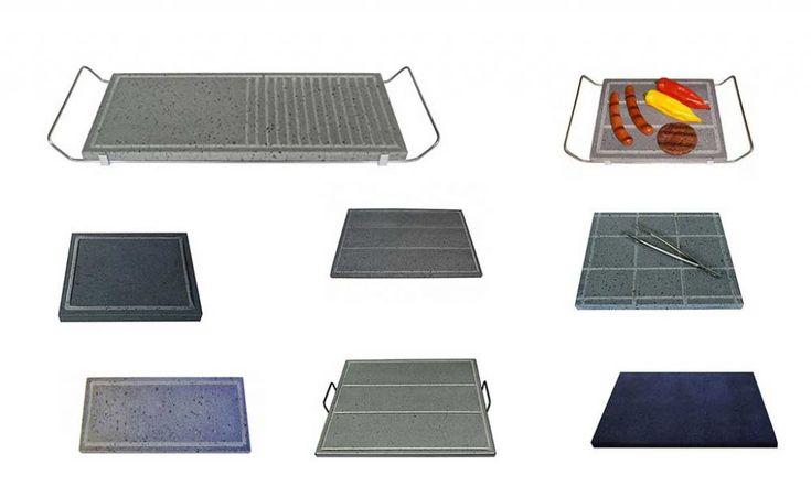 Possiamo trovare in commercio piastre di pietra lavica per cucinare sia sul barbecue che su fuoco diretto e fornelli. Vediamo alcuni modelli utili e comodi