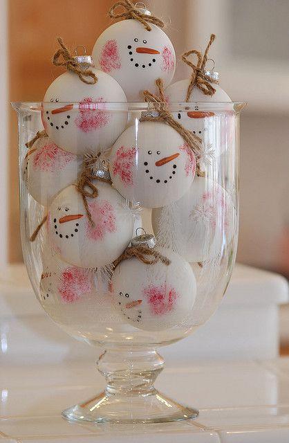 Glass jar filled wtih snowman oranaments