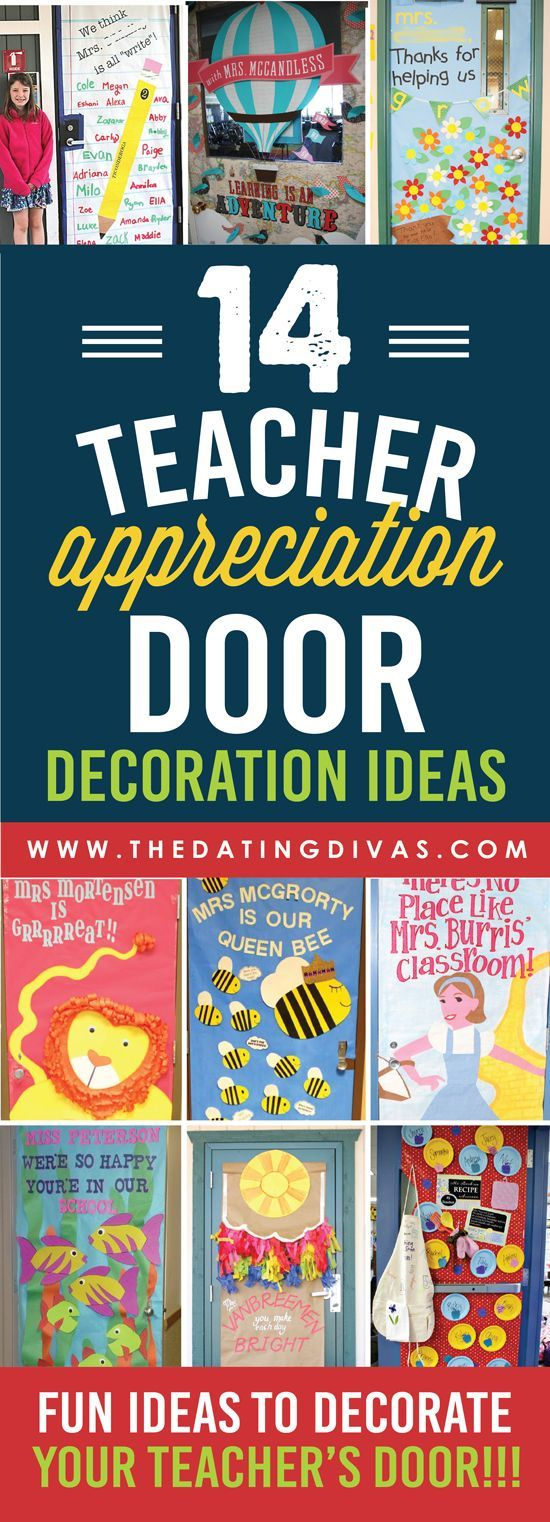 Adorable Door Decorations for Teacher Appreciation Week!!! Definitely pinning this for later! www.TheDatingDivas.com: