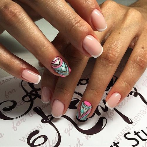 Love the accent nail! Wouldn't do with a plain french tip, thou. Would probably do the other nails solid pink.