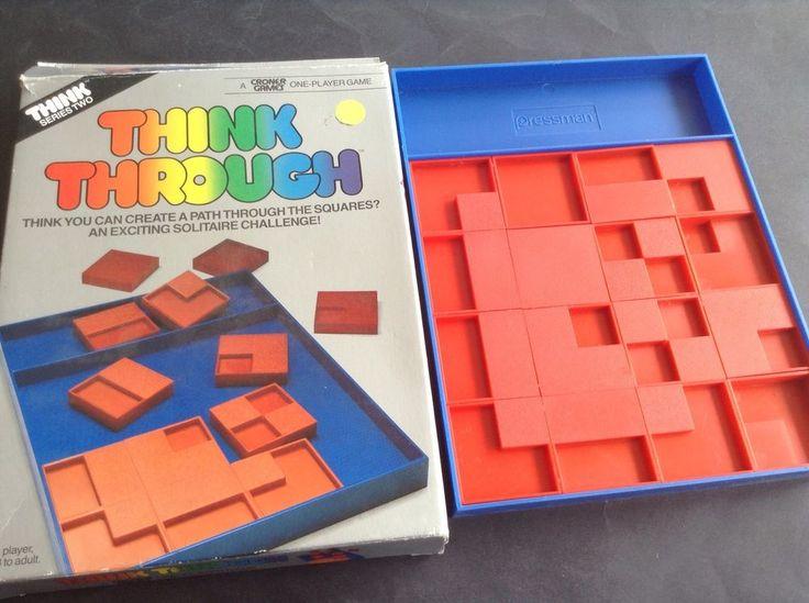 Vintage 1980s Solitaire Game Think Through Pressman Think Series Croner Complete