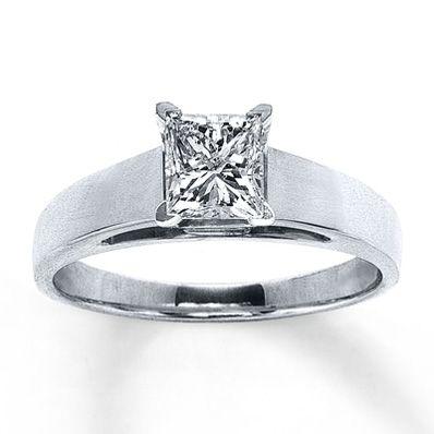 14K White Gold 1 Carat Princess-Cut Diamond Solitaire