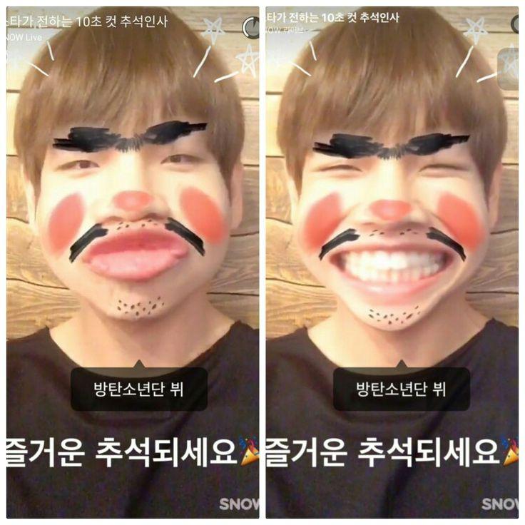 V ❤ Chuseok greetings from Bangtan on SNOW App (Tae haha why) #BTS #방탄소년단