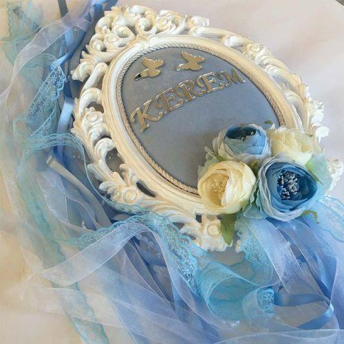 - Mavi Çiçekli Bebek Kapı Süsü-Erkek Bebek